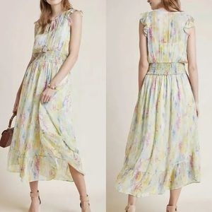 Anthropologie Dress Watercolor Maxi Size 4 NWT
